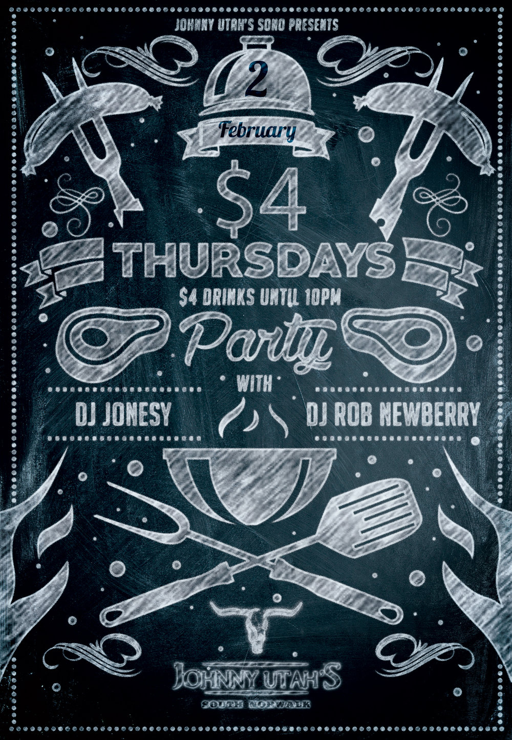 THIS THURSDAY, FEBRUARY 2ND MEET ME AT JOHNNY UTAH'S IN SOUTH NORWALK FOR $4 THURSDAYS.  ALL DRINKS ARE $4 UNTIL 10PM.  MUSIC BY DJ ROB NEWBERRY & MYSELF STARTS AT 9PM.  GREAT MUSIC, FOOD, DRINKS & OF COURSE THE MECHANICAL BULL!  HOPE TO SEE EVERYONE THERE!