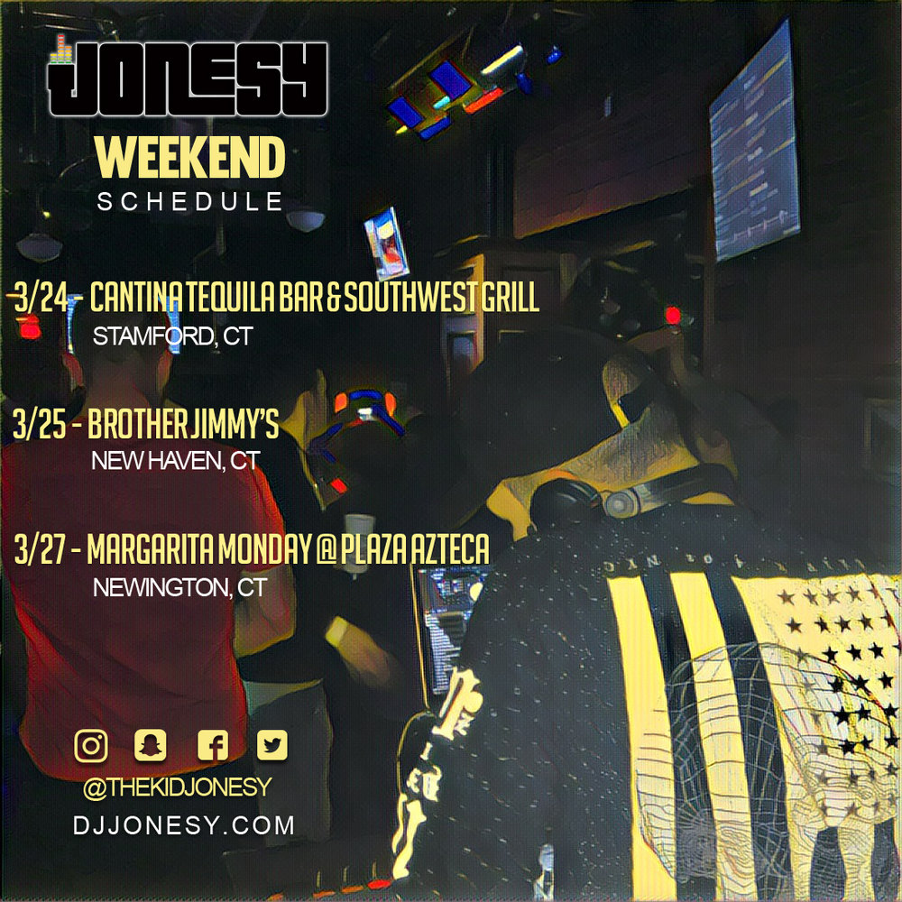 THIS WEEKEND CATCH DJ JONESY AT THESE VENUES SPINNING ALL YOUR FAVORITE MUSIC!  HOPE TO SEE EVERYONE OUT!