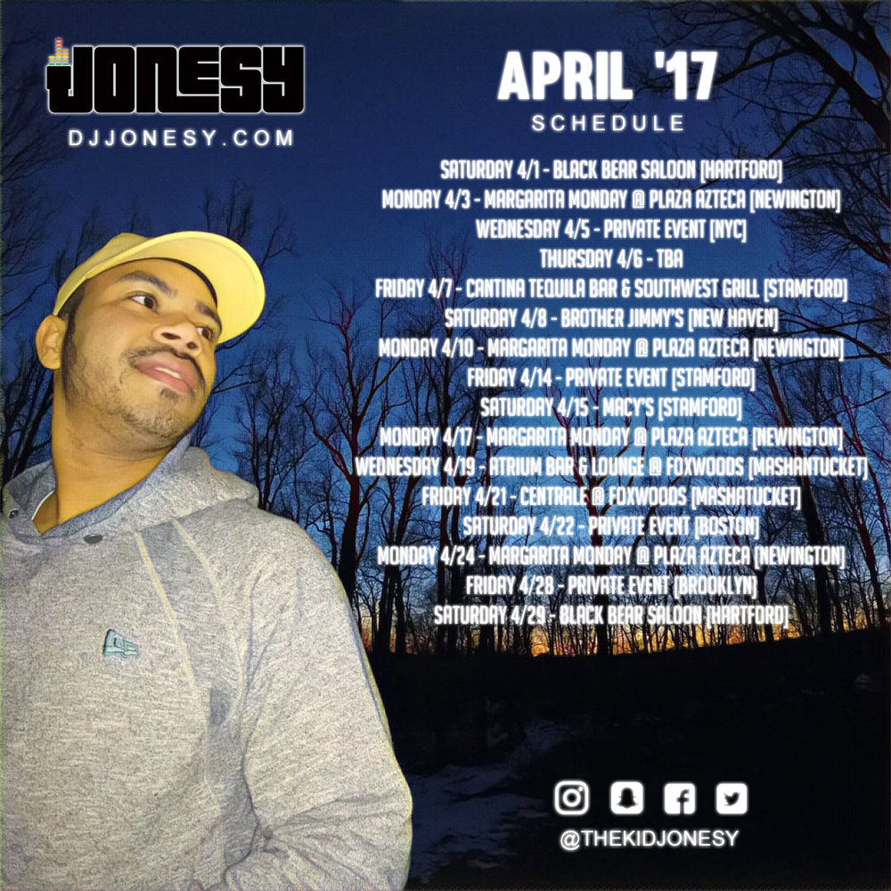 BE SURE TO CATCH JONESY AT ALL HIS APRIL EVENTS!!  #JONESYTEAM