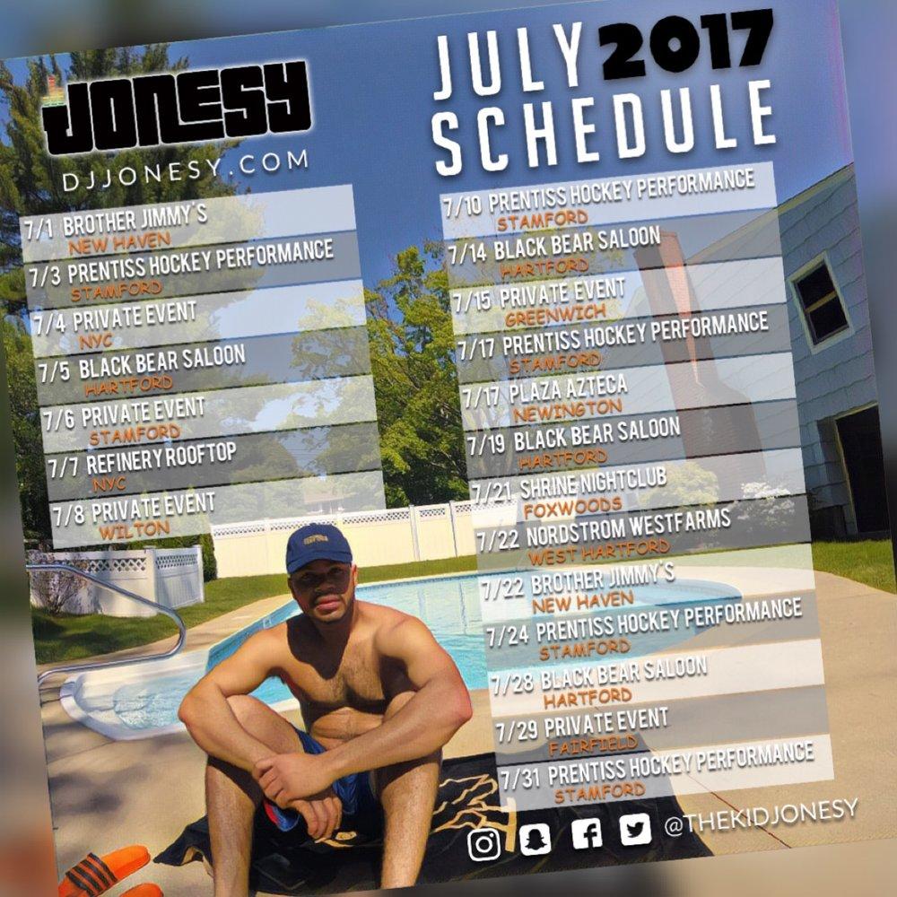 JULY 2017 BE SURE TO CATCH DJ JONESY AT A VENUE NEAR YOU!