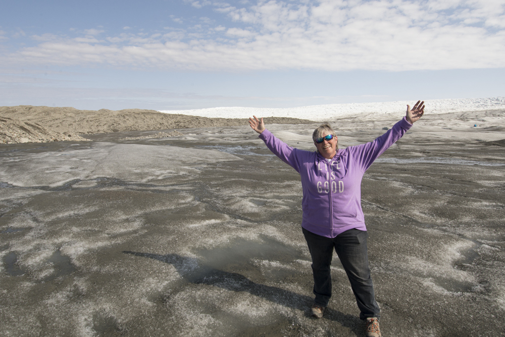 Shelley, standing on the greenland ice sheet, the second biggest ice sheet in the world (antarctica is the biggest). many glaciers flow from this ice sheet and many large ice bergs floating in the atlantic ocean are 'born' from these glaciers.