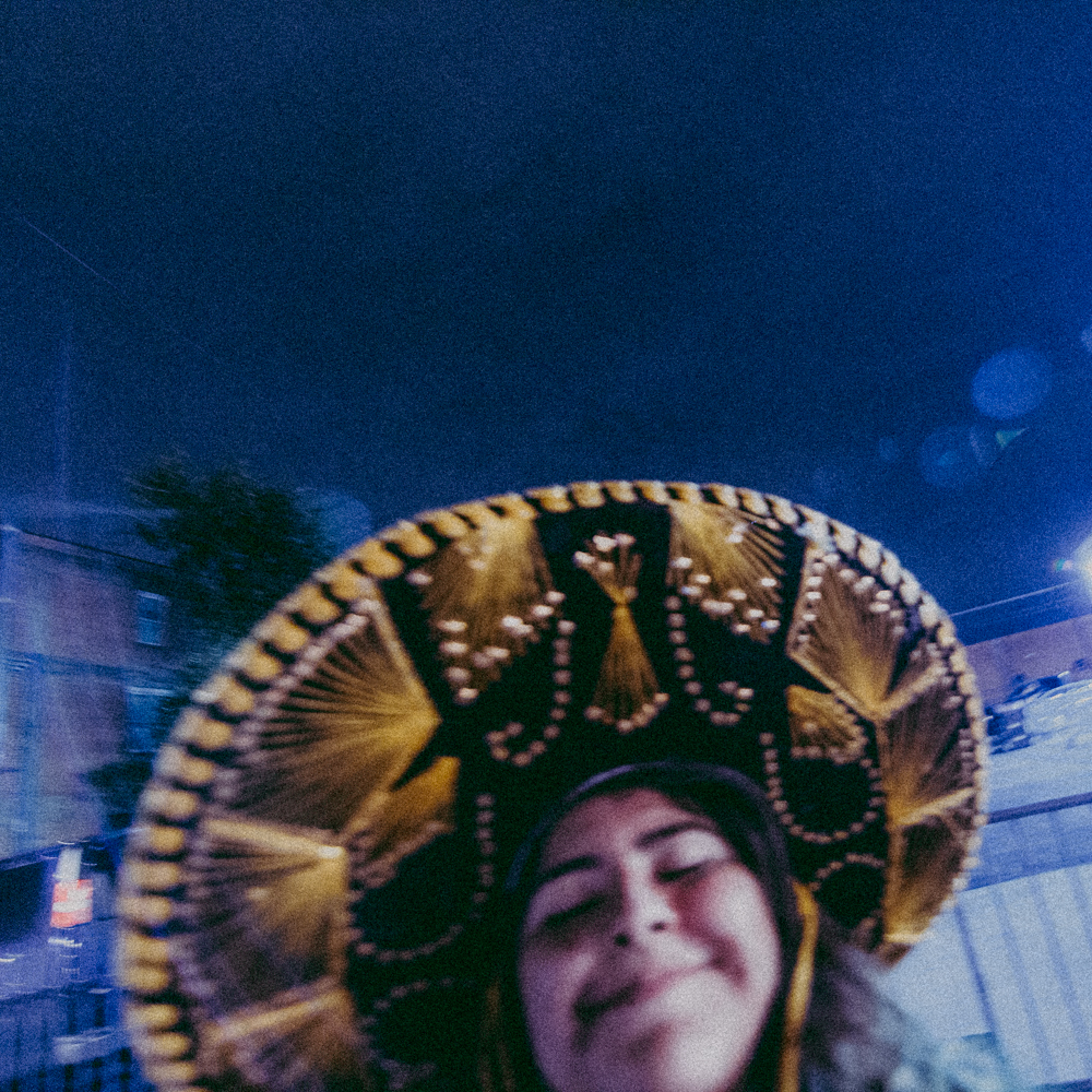 Aaron dared me to put on his sombrero in Texas