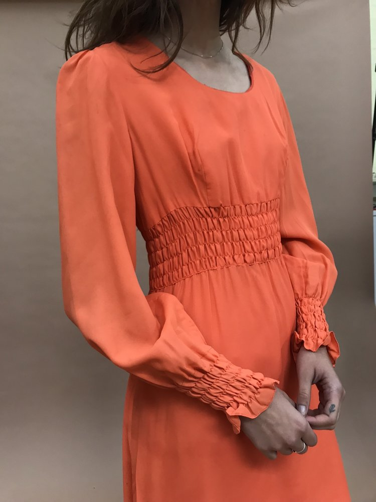 Vintage | 1970s Smocked Dress   Orange (S) by Lisa Says Gah