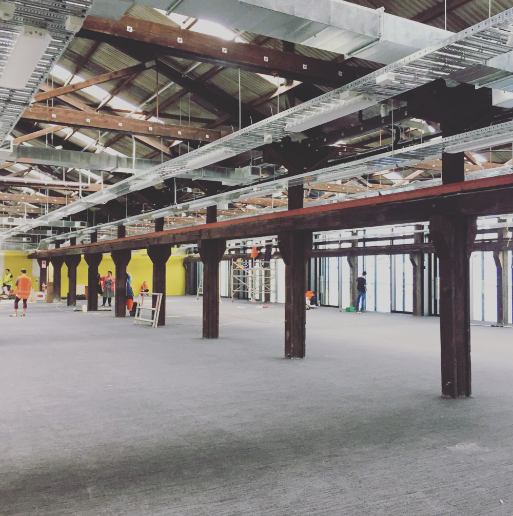 A sneak peek of our new home, the first floor workspace inside of The John Lysaght Building