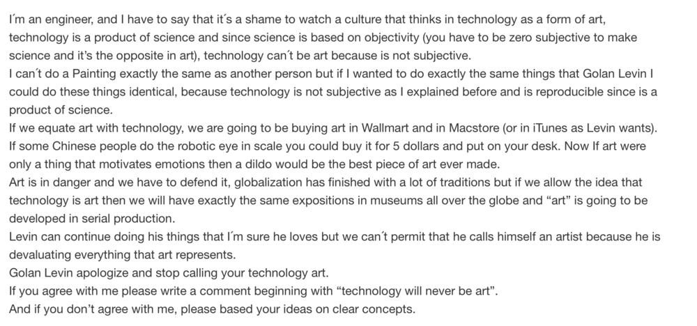 Not everyone thinks that Golan mixing art and tech is a good thing