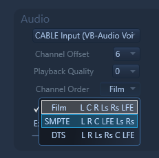 Select-able Channel Orders: Choose between FILM, SMPTE and DTS channel orders now! Also setting a Channel Offset is possible now for cases that your left channel doesn't happen to be the 1st output of your audio device.