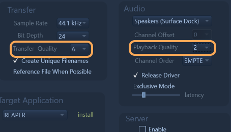 Transfer and Playback Quality settings can be set Independently now.