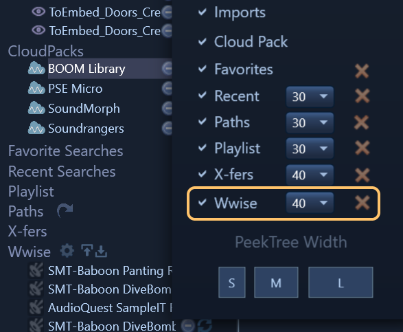 We added a separate  Wwise  node for the  PeekTree  that's hidden by default that you show from the settings panel to see it.