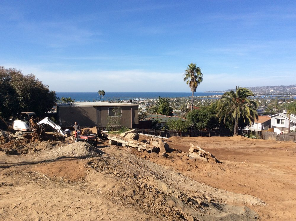 Grading of five new homes in Point Loma overlooking the Pacific…