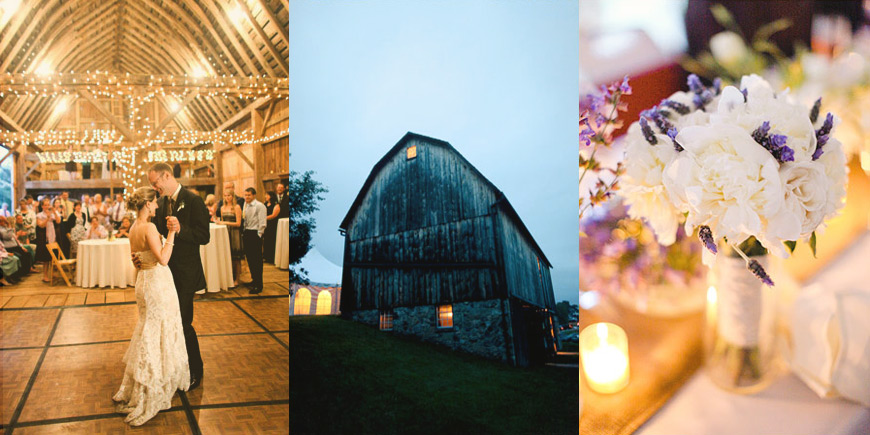 michigan barn wedding nighttime
