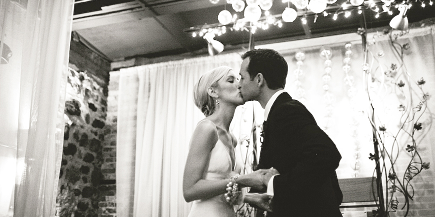 ann arbor vinology wedding first kiss