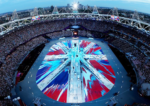 Damien Hirst's enormous spin painting rendering of the Union Jack covered the floor of the Olympic Stadium during the opening ceremony