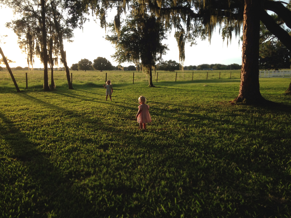 My girls running with long, black shadows. Shrieking.