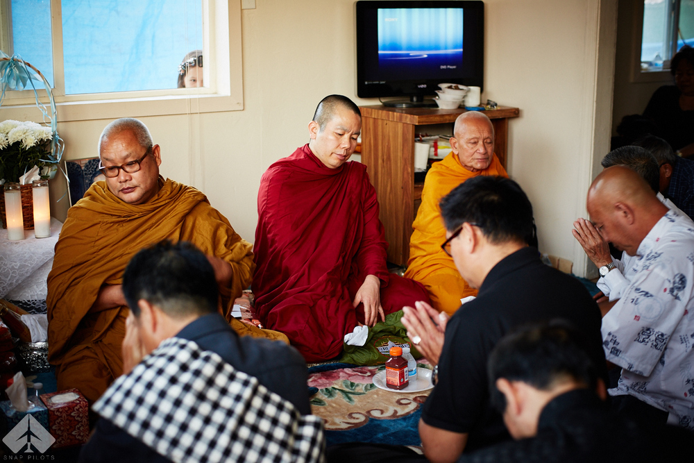 The House was packed with folks. Monks came from all around the states to bless the home along with relatives and close friends.
