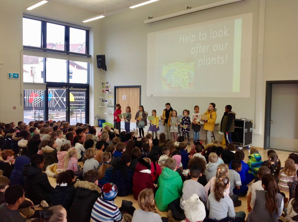 Eco-Team assembly - To start off the year the Eco-Team took the opportunity to speak to the whole school in assembly and let them know what they have been up to since September. Collectively the children decided on some key areas that they wanted to talk to the school about. These focused on the school grounds: the use of the mindful maze, looking after the plants, how we are treating the animal habitats and the use of chalk at lunchtime. They reminded everyone about being an active traveller with living streets and how we must remember to use of food bins correctly. Lastly they introduced the school to Eco-Bricks and encouraged everyone to make their own to contribute to building an eco-brick buddy bench.