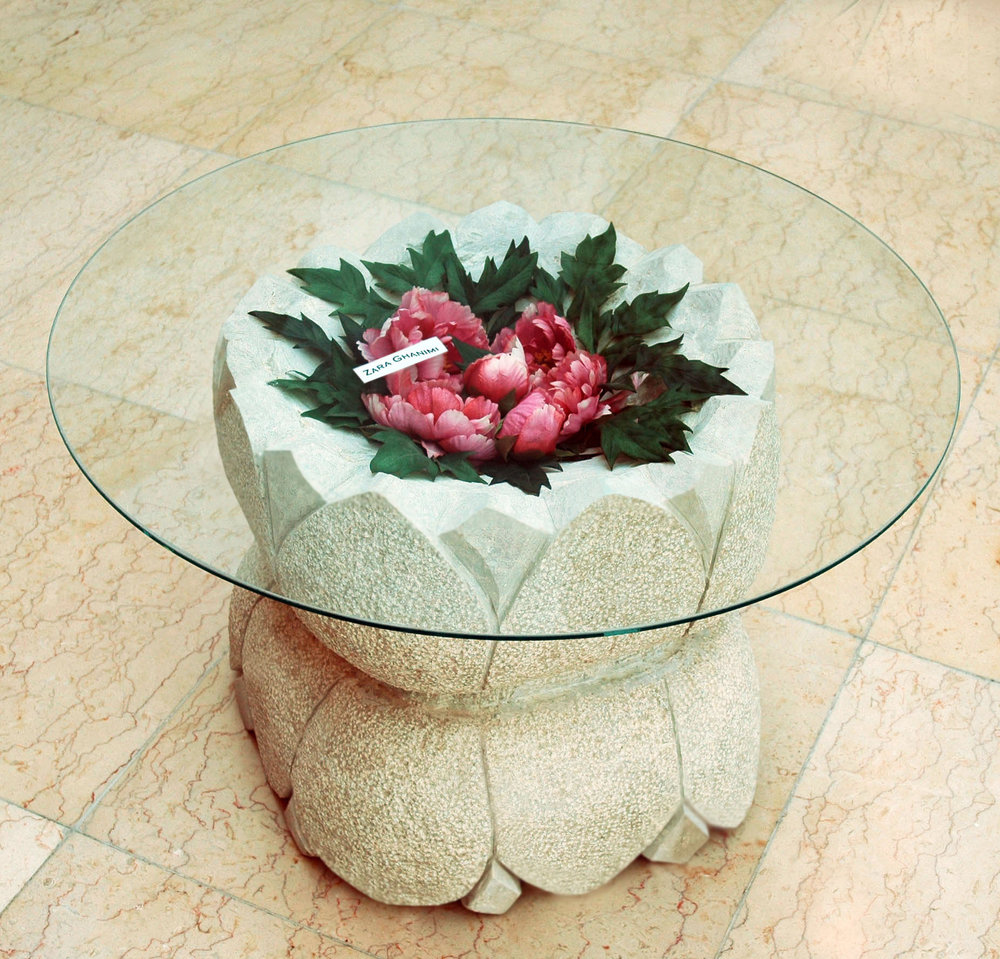 Lotus  - Hand Carved Marble Table Base 2' x 2' - 2007 UAE