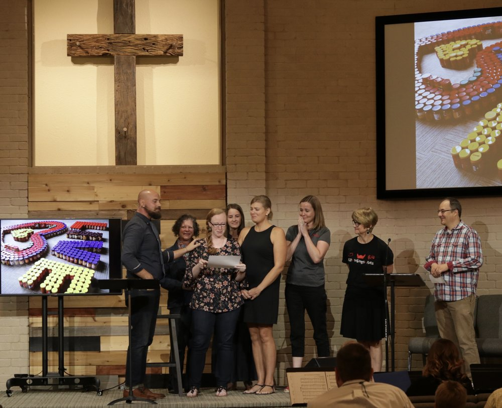 Voigt Elementary School teachers and administrators joined us in worship this Sunday. We prayed over them and surprised them with a $9,000 check to fund a year's worth of teacher micro-grants, enabling teachers to better serve their students.