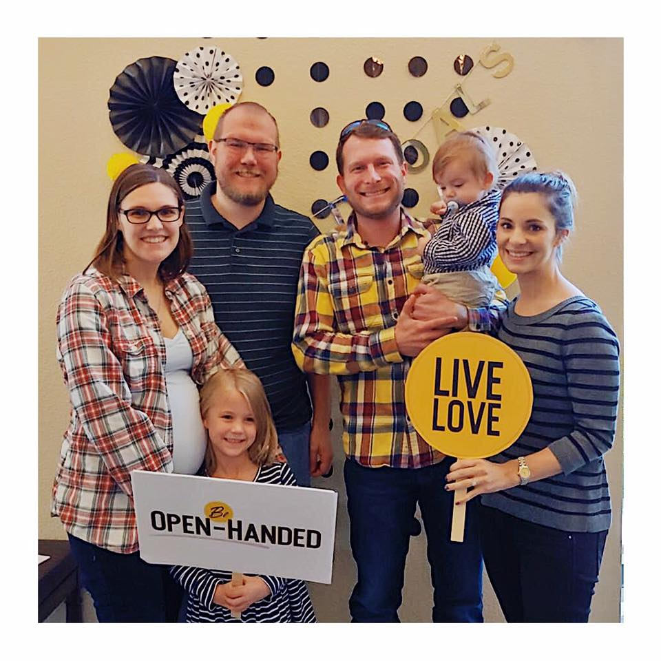 "This Sunday we encouraged you to find someone who you've seen be open-handed—generous, surrendered, eager to share whatever God's given them. After worship member  Nick Shultz  said, ""How do I get a picture with the whole church?""   Amanda and Brian Durgin grabbed Luke and Haley Cochran. Here's what Amanda had to say about them and the ways God's working through them: Luke and Haley have helped us in so many ways! They always pray for any situation we need including our extended circles of work friends and people abroad. They have helped us financially without being asked just to ease the burden. They have sent us care packages when we were sick, congratulations for victories. They have visted us, encouraged us, brought us food.   They have done tons of other similar things for our small group. They open their home to us every week no matter how loud and messy our kids are. They have been the very best of friends to us. I know that there are many others like us who have been blessed by them, but they always do so on the down low.   I don't think they will ever know how much thier well timed generosity has helped us. Financially, yes, but more so spiritually and ""friendshiply."" And just so many ways.   Thanks, Luke and Haley, for opening your hands!"