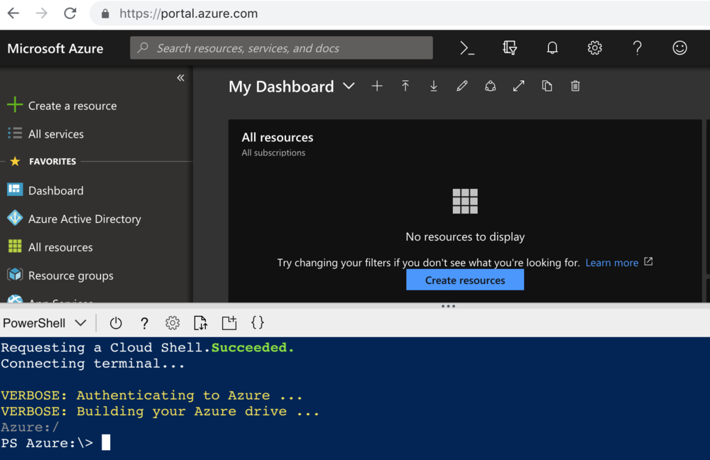 Azure Cloud Shell in Azure Portal