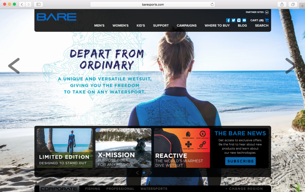 Marquee slider and product tile on Bare Sports landing page