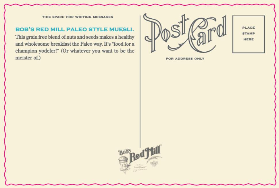 Paleo postcard reverse