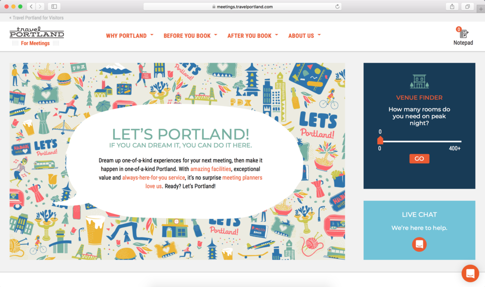 "Travel Portland // Grady Britton //  summer 17  Let's Portland!  meeting planner specific campaign that needed to speak to the can-do attitude of the mp audience, and dovetail with the higher-level ""You Can, In Portland"" campaign that Travel Portland had recently launched with Wieden+Kennedy."