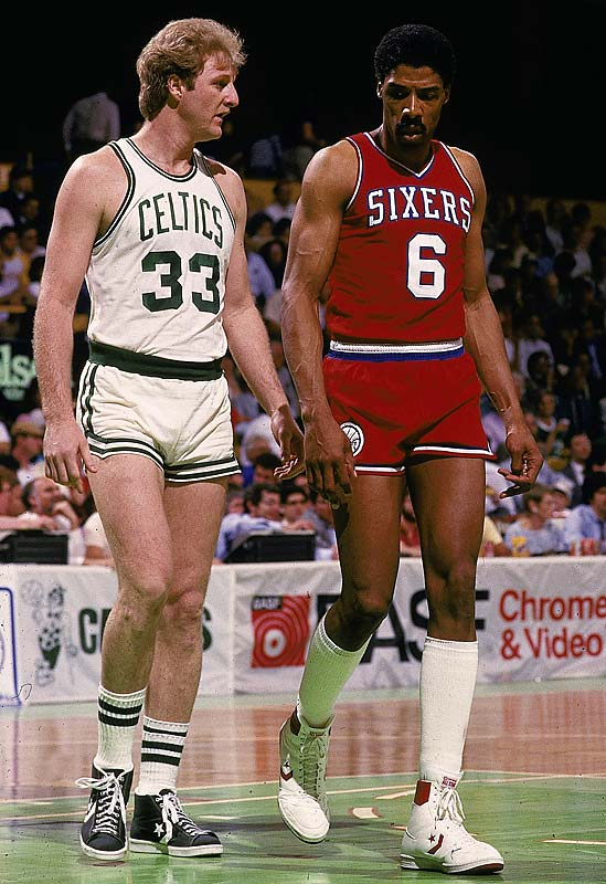 People tend to forget the Rivalry Larry Bird and Julius Erving had in the 80s, playing in the same division from 1979-1987. From 1980 to 1987, Bird's Celtics and Ervings's Sixers met up 3 times in the Eastern Conference Finals, Bird winning each time. (AP Photo)