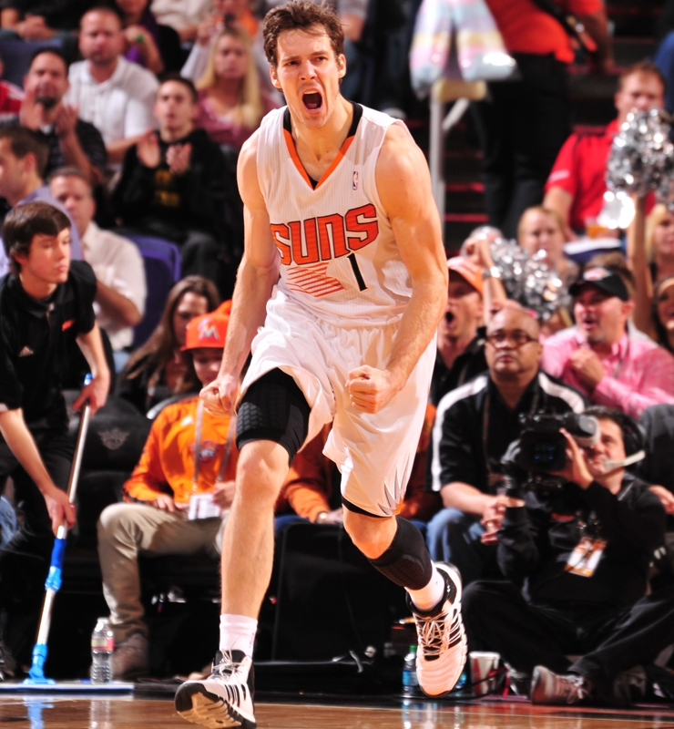 Goran Dragic had 40,35, and 34 point games in the month of February, leading the Suns to their first potential playoff appearance since 2008. (Barry Gossage/Getty Images)