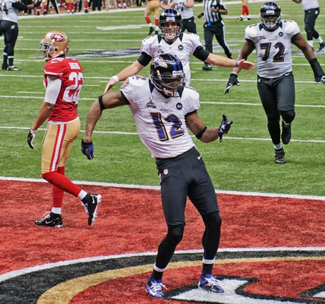 In two seasons with the Ravens, Jacoby Jones has 3,498 total yards with 4 return TDs (AP Photo)