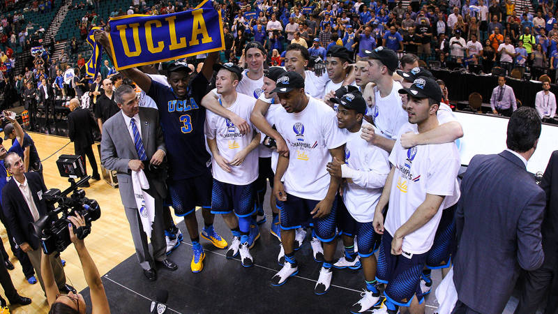 UCLA upset Arizona in the Pac-12 championships, 75-71, their 4th in school history. (Eric Evans/AP photo)