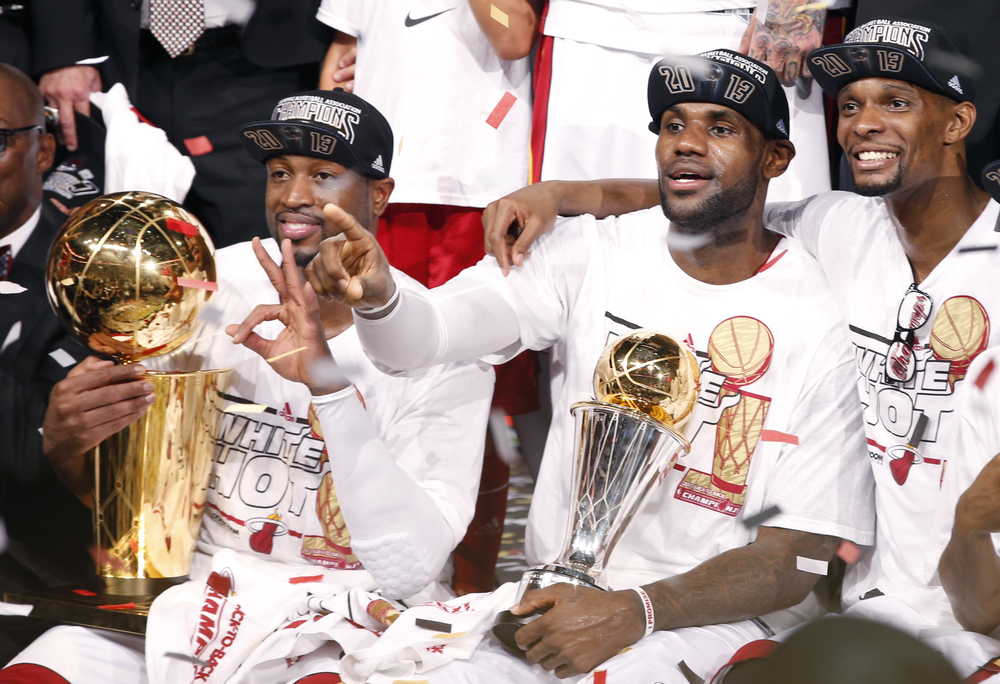 D-Wade, Bronny, and Bosh have been to 3 straight NBA Finals since bringing their talents together in 2010. This year they are on a quest for the 3-peat to put them in the conversation for greatest team/BIG3 ever. (Reuters/Mike Segar)