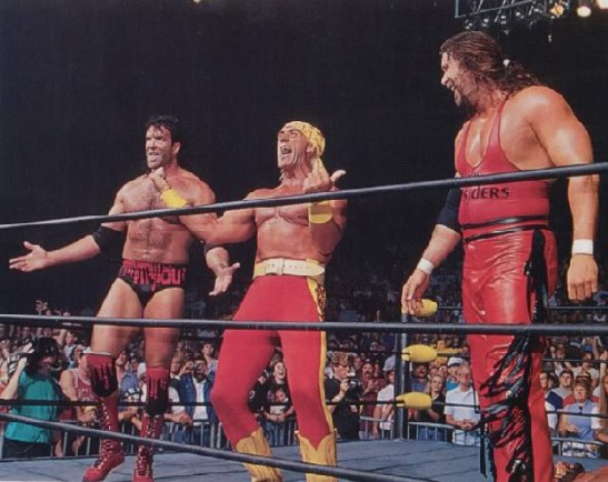 Hulk Hogan, Kevin Nash, and Scott Hall all departed from the WWF for new careers in the WCW forming the New World Order, also known as NWO.
