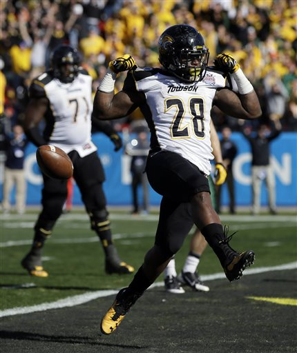 T.West was arguably the best running back in the country last year, leading the Towson Tigers to their first ever National Title, truly putting the school on the national scene. (Tony Guiterrez/AP)