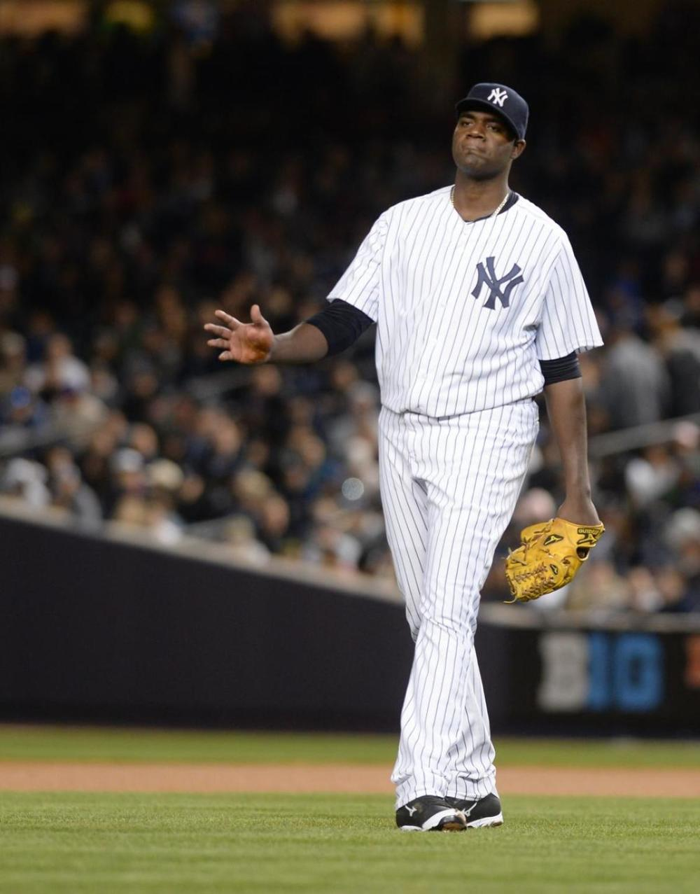 Michael Pineda struck out 7 batters but everyone was curious about that dark greasy substance in his hands.  (Mark Bonifacio/New York Daily)