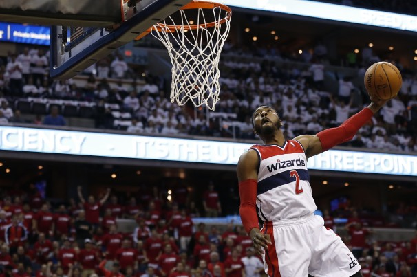 In his first playoff series, John Wall struggled from the field, only shooting 36%, but still averaged 17 points, 7 dimes, 4 boards, and 3 steals. (Geoff Burke-USA TODAY Sports)