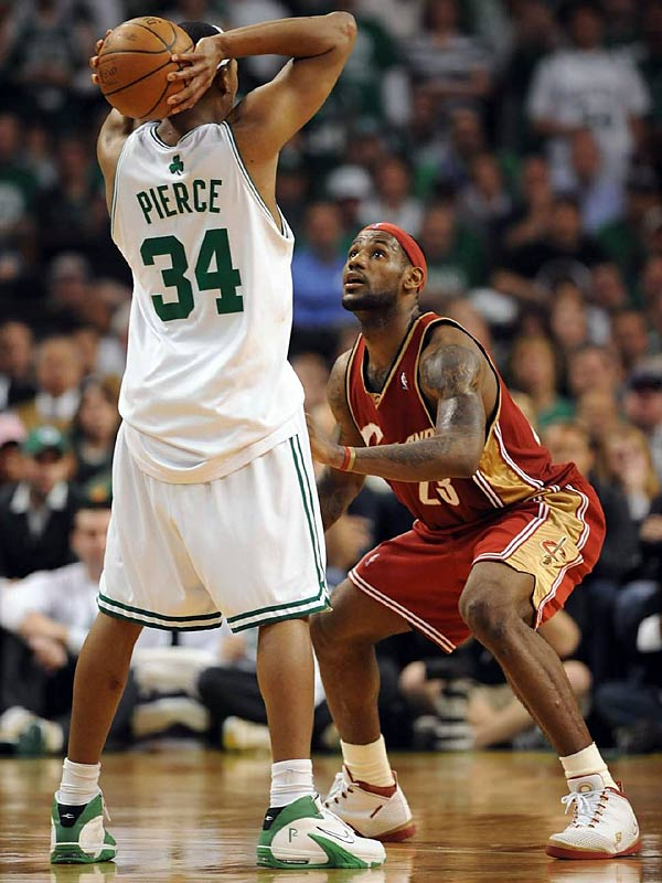 In the 2008 Eastern Conference semi finals, the Celtics defeated the Cavaliers 97-92 in game 7 to move on to the Eastern Conference Finals. Paul Pierce and LeBron James had a great batlle both dropping 40+, Pierce with 41 and James with 45. (John Biever/SI)