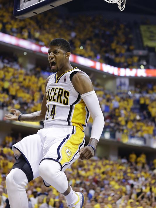 Paul George dropped 21 points in the 4th quarter last night. The Heat outscored the Pacers 33-29 in the 4th, but Paul George made sure they didn't end their season early. (Associated Press)
