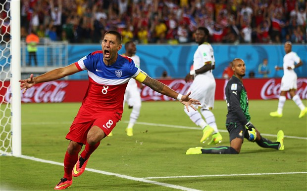 After putting together some fancy footwork, Clint Dempsey recorded the the 6th fastest goal in World Cup history, 32 seconds into the game. The Ghana players in the background look real disappointed.