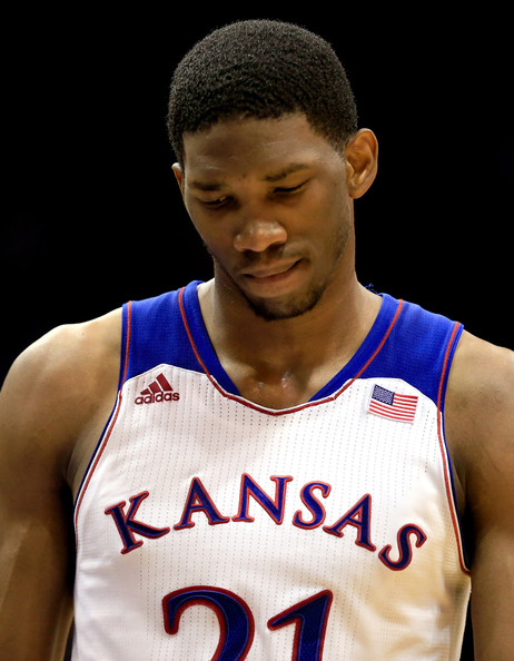 Joel Embiid has two red flags coming into the draft thursday - A stress fracture in his back that made him miss the NCAA Tournament and a new foot injury that some say is similar to Yao Ming's. (AP Photo)