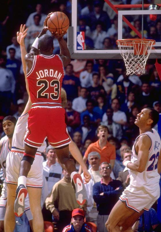 Despite his incredible individual success like the famous shot over Craig Ehlo in the 1989 playoffs shown in the picture above, The Bulls weren't a great team. In Jordan first 6 seasons he averaged 31.5 point , 6 rebounds, and 5.6 dimes, with an MVP and Defensive Player of the Year but the Bulls could never get over the hump, mainly because of the Pistons aka Bad Boys of Detroit, who eliminated them in 3 consecutive postseasons.(Manny Millan/SI)