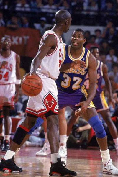 After sweeping the Pistons, they went on to beat the great Magic Johnson and his Los Angeles Lakers in 5 games to win Jordan's and the Bulls first championship. In his first Finals appearance, Jordan averaged 31.2 points on 56% shooting from the field, 11.4 assists, 6.6 rebounds, 2.8 steals and 1.4 blocks. This was only the beginning though, Jordan went on to win 2 more straight, defeating the Blazers and Suns to complete the 3-peat. (AP Photo)