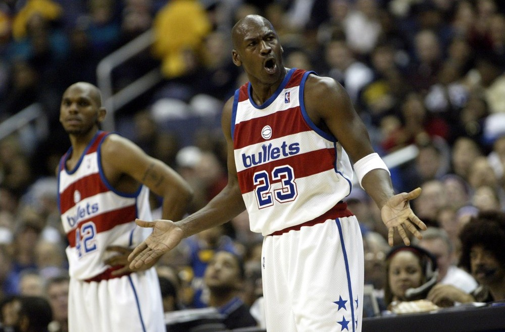 Jordan would make another comeback at the age of 39 in 2001, playing 2 seasons with the Washington Wizards, who he was also a part owner of and president of operations. Jordan averaged 21 points, 6 rebounds and 4 assist in 2 seasons with the Wizards which is incredible when you really think about it. (AP Photo)