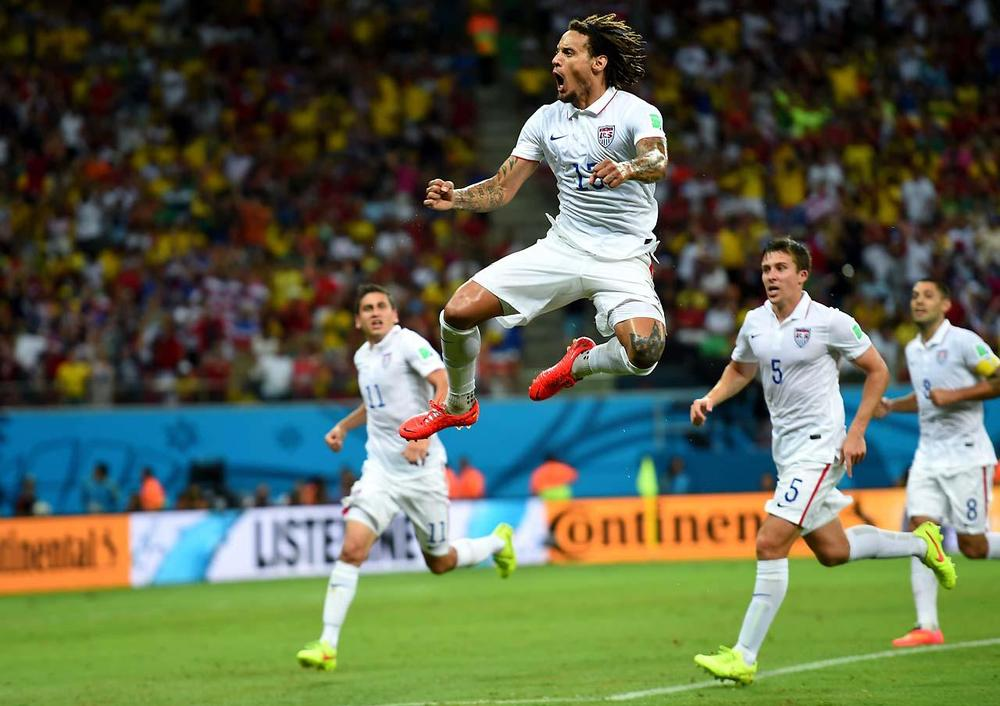 Jermaine Jones celebrates after scoring the clutch goal vs. Portugal that gave the U.S a 2-1 lead. Unfortunately that lead didn't last the whole game. Still a great goal and celebration. (Getty Images)