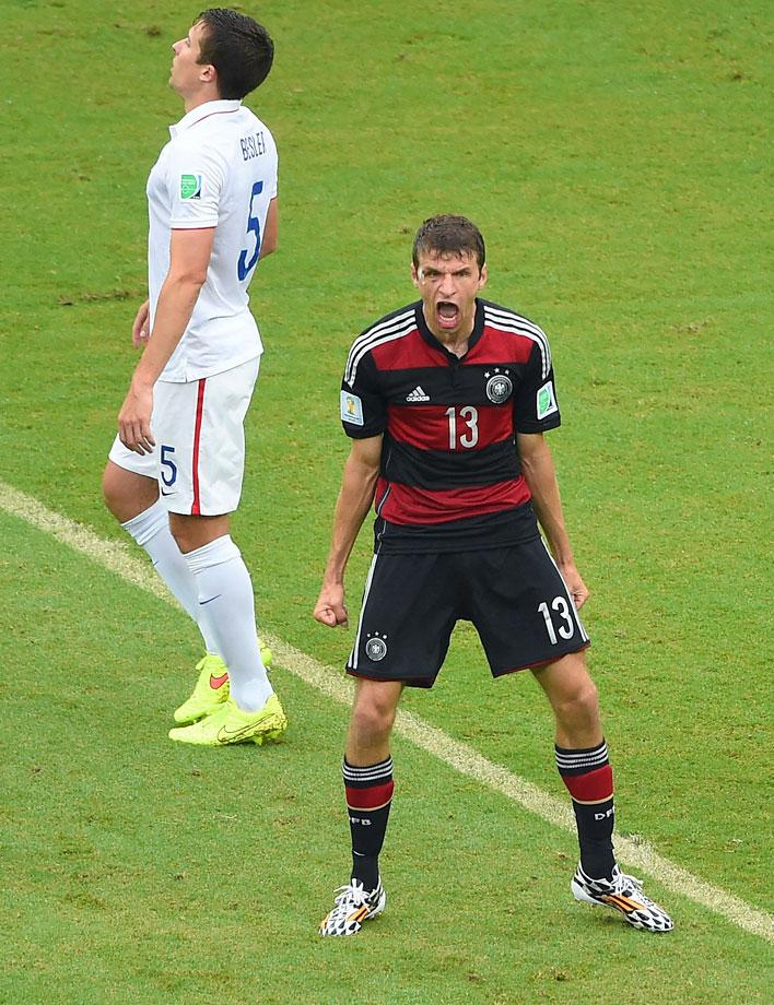 Thomas Mueller was last year's winner of the the Golden Boot, which goes to the top goal scorer in the tournament. He currently has 5 and with 1 more goal he would be tied with James Rodriguez for most in the tournament. ( Laurence Griffiths/Getty Images)