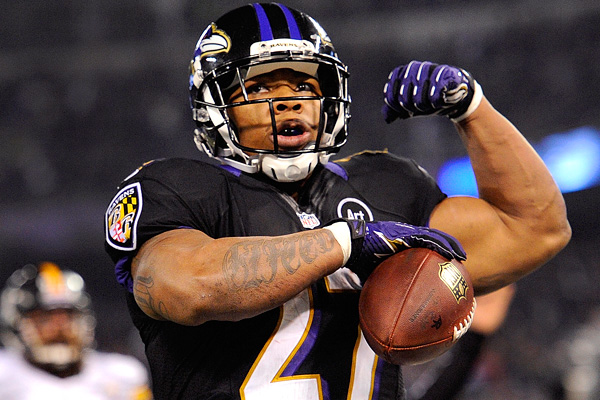 Ray Rice will have an up-field battle to clean up image with the public. The best thing for Rice to do is ball out and all we be forgiven. (AP Photo)