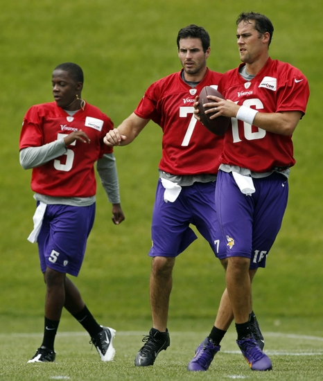 (From left to right, Bridgewater, Ponder, Cassel) This will be an intense battle all training camp because all three of these dudes have something to prove.