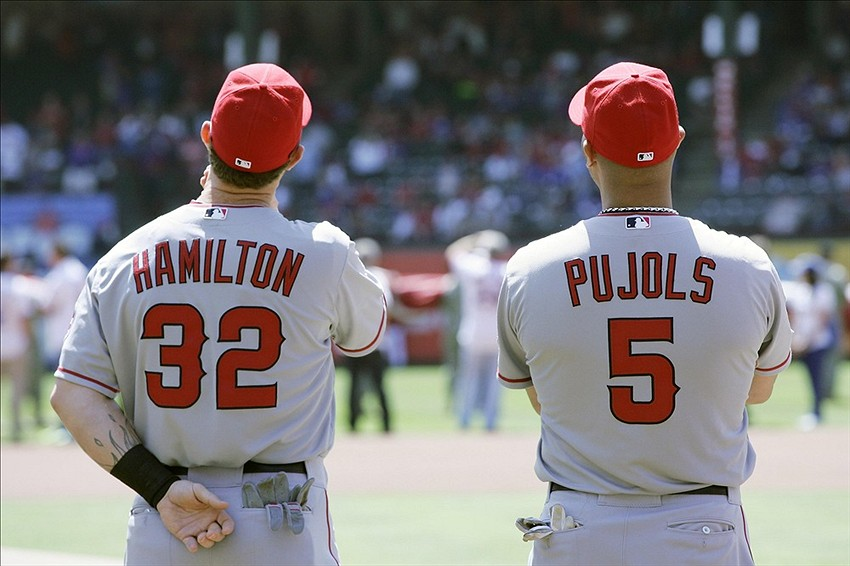 The pressure is building for both of these 30-year old sluggers. Pujols, who signed a 10-year $240 million contract back in 2012, and Hamilton, who signed a 5-year $125 million contract in 2013, has yet to play at a level we are use to seeing them at. This year they combine for 29 HRS (Pujols 21), 108 RBIs (Pujols 73), .447 slugging percentage, and a .268 batting average, which are usually individual numbers for each. If the Angels don't produce in the postseason, these two will have some explaining to do. (Tim Heitman-USA TODAY Sports).