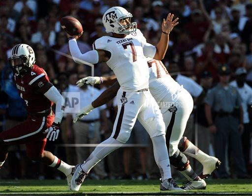 As Johnny Football's succesor, Kenny Hill will have a ton of pressure on him. He showed how much he can handle it by setting a new Texas A&M record for most passing yards in a game. Not bad for your first career start. (AP Photo)