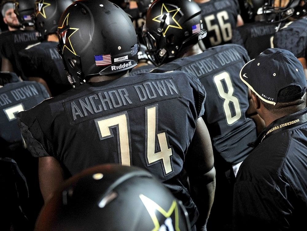 "Vanderbilt began their season with some fresh new all-black uniforms with the term ""Anchor Down"" on the back where players names are supposed to go. According to NCAA rules, only Service Academics, such as Navy, Army, and Air Force, are allowed to use words on the back of their jerseys. The rule book also says that a team that does commit the ""crime"" is supposed to be charged a timeout per quarter. Vandy was charged a timeout in the second quarter but then Vandy officials bought an email from the SEC that approved the jerseys. After the confusion was cleared, Vandy then went on to lose 37-7 to Temple in front of the home crowd. If i was them I would burn those jerseys."