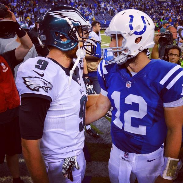"""Foles (9) and Luck (12) both entered the league in 2012 and both have seen what it is like to play in the playoff. These two, especially Luck, are the future """"Elite Qbs"""" in the league. Both have high expectations and must lead their team to the promise land. (Colts)"""